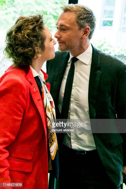 Christian Lindner, Federal Chairman of the FDP, welcomes Nicola Beer, leading candidate of the FDP in the European elections, before the beginning of...