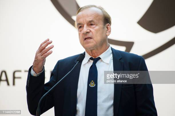 Gernot Rohr coach of the national football team of Nigeria will speak to the guests present during the award ceremony for the German Football...