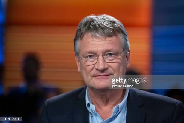 Jörg Meuthen AfD's top candidate for the 2019 European elections is on the verge of the exchange of blows in the ZDF capital studio following the TV...