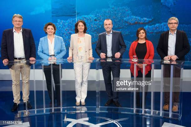 Jörg Meuthen Federal Chairman of the AfD and leading candidate for the European elections Nicola Beer leading candidate of the FDP for the European...