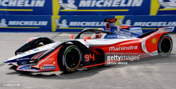 Motorsport Preview Formula E Championship ePrix race at Tempelhof Airport Pascal Wehrlein from Team Mahindra Racing drives test laps on the race...