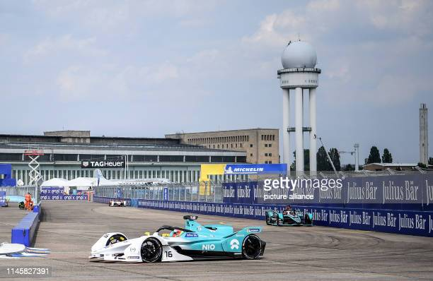 Motorsport Preview Formula E Championship ePrix race at Tempelhof Airport Oliver Turvey from Team NIO drives test laps on the race track during...