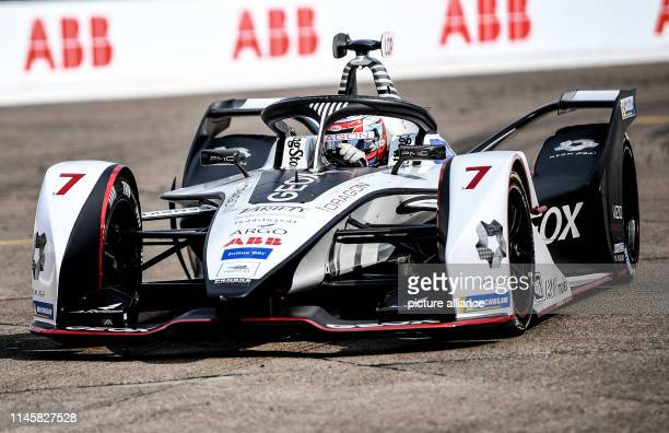 Motorsport Preview Formula E Championship ePrix race at Tempelhof Airport Jose Maria Lopez of Team Geox Dragon drives test laps on the race track...