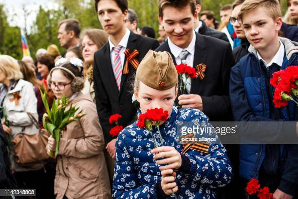 Students of the German School in the Russian Embassy visit the Soviet Memorial in Treptower Park on the occasion of the 74th anniversary of Russia's...