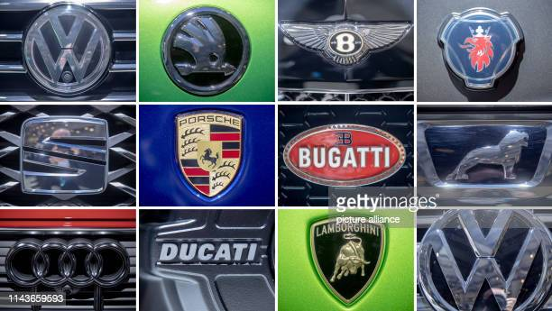 The logos of Volkswagen AG brands adopted on vehicles at the Volkswagen Annual General Meeting. Upper row l-r Volkswagen, Skoda, Bentley, Scania....