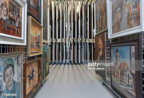 """May 2019, Brandenburg, Beeskow: View into the """"heart"""" of the new art archive with its innumerable pulling grids to which pictures from GDR times are..."""