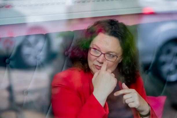 DEU: SPD Leader Nahles Visits Science Park And Women's Polling Station