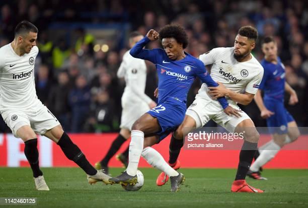 Soccer Europa League knockout round semifinal return match FC Chelsea Eintracht Frankfurt at Stamford Bridge Stadium Simon Falette and Filip Kostic l...