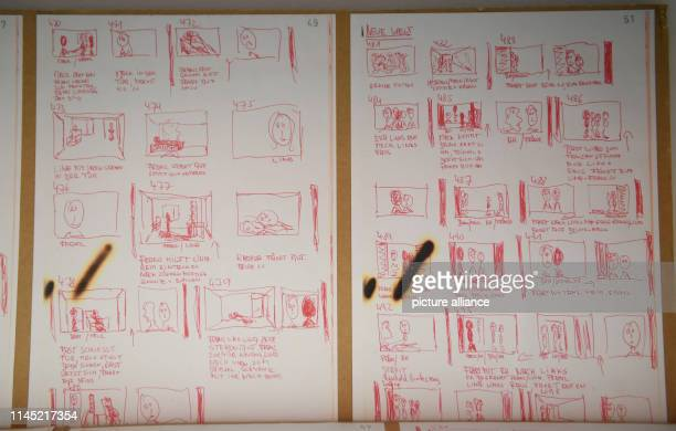 """May 2019, Hessen, Frankfurt/Main: Reproductions of the storyboard for the planned feature film """"Berlin Alexanderplatz"""" can be seen in the written..."""