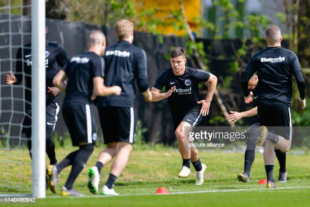 Soccer Europa League Eintracht Frankfurt FC Chelsea knockout round semifinals first legs final training Frankfurt's Luka Jovic takes part in the...
