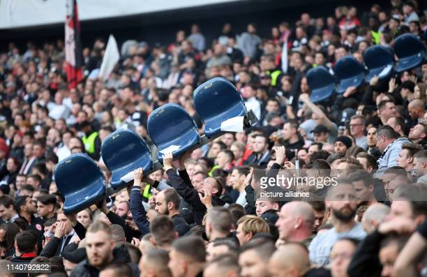 Soccer Europa League Eintracht Frankfurt FC Chelsea knockout round semifinal first leg in the Commerzbank Arena Seats are held high in the stands by...