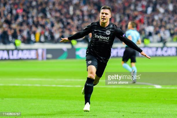 Soccer Europa League Eintracht Frankfurt FC Chelsea knockout round semifinal first leg in the Commerzbank Arena Luka Jovic from Frankfurt cheers over...