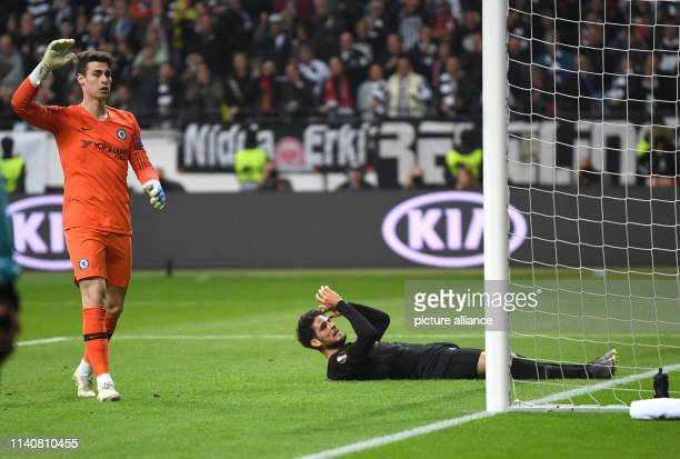 Soccer Europa League Eintracht Frankfurt FC Chelsea knockout round semifinal first leg in the Commerzbank Arena Chelsea goalkeeper Kepa Arrizabalaga...