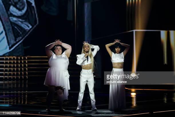 French singer Bilal Hassani performs during the rehearsal ahead of the grand final of the 2019 Eurovision Song Contest Photo Ilia Yefimovich/dpa