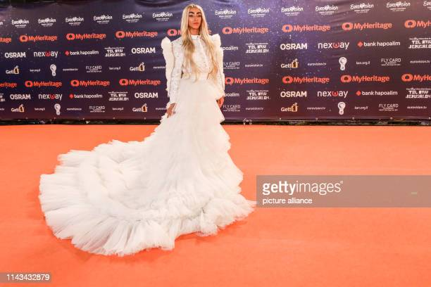 French singer Bilal Hassani who represent France poses for a picture at the orange carpet during the opening ceremony of the Eurovision Song Contest...