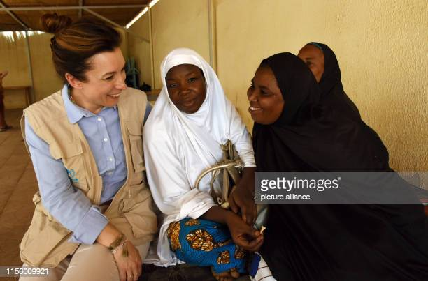 May 2019, Libya, Niamey: Carlotta Sami , spokeswoman for the United Nations Refugee Agency for Southern Europe, talks to female refugees. The UNHCR...