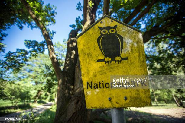 May 2019, Mecklenburg-Western Pomerania, Boek: The sign for the national park is located at the edge of a forest in the Müritz National Park. Founded...