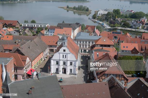 21 May 2019 MecklenburgWestern Pomerania Wolgast View of the town hall at the square of the same name in the old town of Wolgast Close to the holiday...