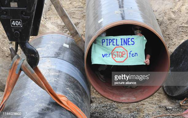 16 May 2019 MecklenburgWestern Pomerania Wrangelsburg Activists have occupied a pipe on the Eugal line at the construction site According to police...