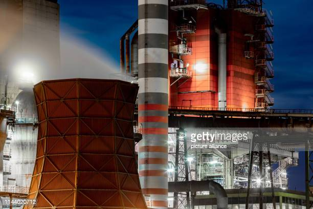 15 May 2019 North RhineWestphalia Duisburg Steam comes from a boiler in front of blast furnace 8 from ThyssenKrupp The steel and industrial group...