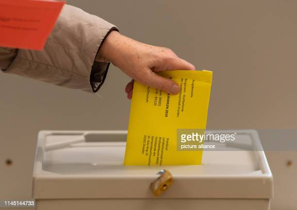 A woman throws an envelope with the ballot paper for the local elections in Saxony into a ballot box at the polling station for the postal vote Photo...