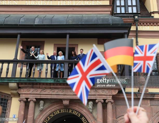 The British heir to the throne Prince Charles and his wife Camilla stand with Burkhard Jung Mayor of Leipzig and his wife Ayleena and Michael...