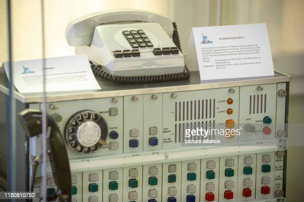 A telephone system is installed in an exhibition showcase in the memorial site Deutsche Teilung Marienborn The former border crossing point was the...