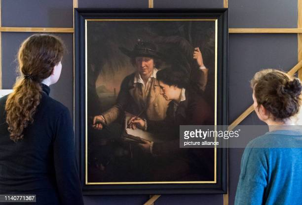 02 May 2019 SaxonyAnhalt OranienbaumWörlitz A double portrait of the painter John Francis Rigaud shows Johann Reinhold and Georg Forster in Wörlitz...