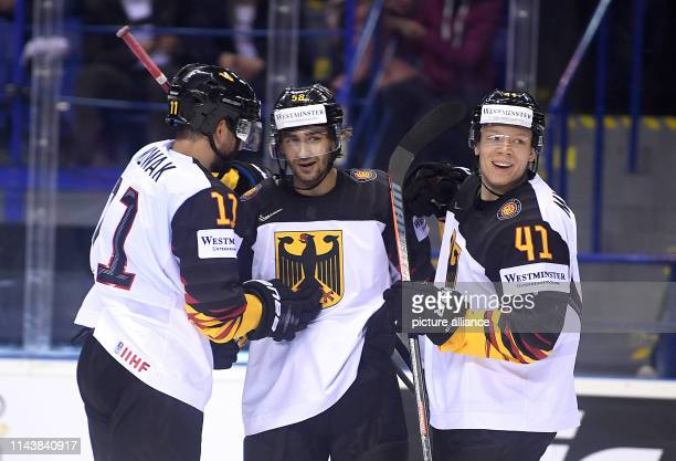 Ice hockey WM Germany France preliminary round group A 3rd matchday in the Steel Arena Germany's Marco Nowak Markus Eisenschmid and Jonas Müller...