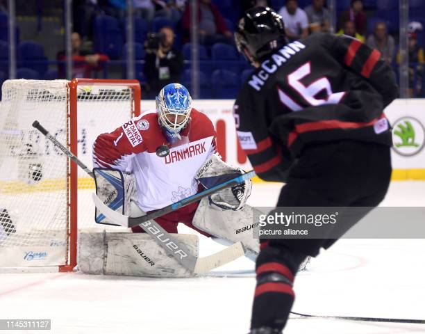 Ice hockey World Championship Canada Denmark preliminary round Group A 6th matchday in the Steel Arena Denmark goalkeeper Patrick Galbraith parries...