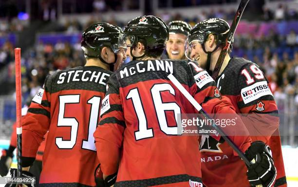 Ice hockey World Championship Canada Germany preliminary round Group A 5th matchday in the Steel Arena Canada's players Troy Stecher Jared McCann and...