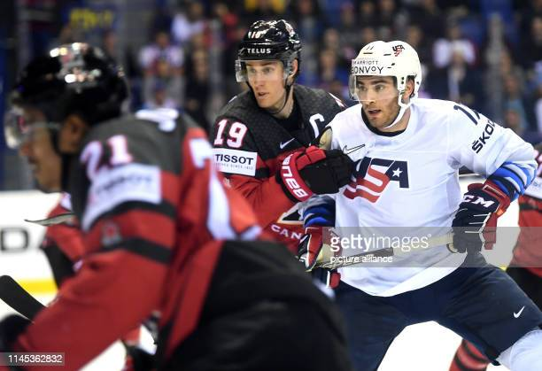 Ice hockey World Championship Canada USA preliminary round Group A 7th matchday in the Steel Arena Canada's Kyle Turris and Luke Kunin from the USA...