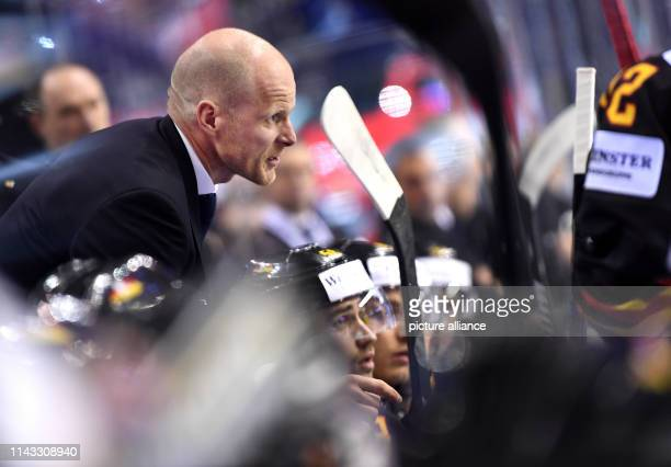Ice hockey World Championship Denmark Germany preliminary round Group A 2nd matchday in the Steel Arena Germany coach Toni Söderholm talks to a...