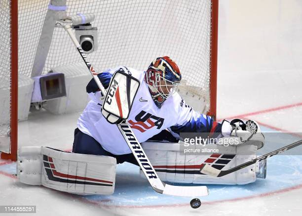 Ice hockey World Championship Denmark USA preliminary round Group A 5th matchday in the Steel Arena Goalkeeper Cory Schneider from the USA in action...