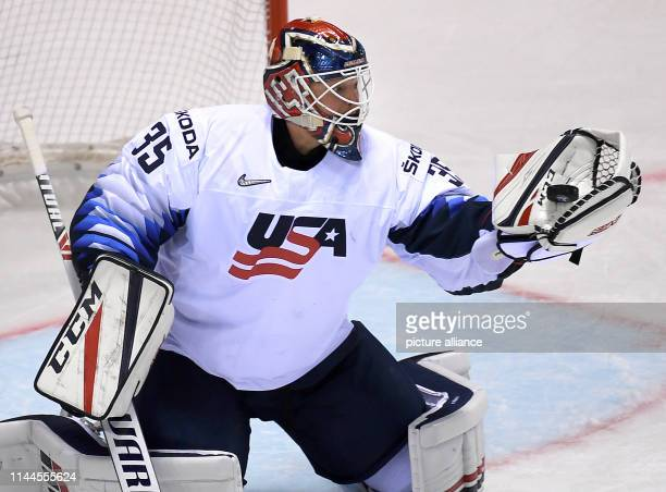 Ice hockey World Championship Denmark USA preliminary round Group A 5th matchday in the Steel Arena Goalkeeper Cory Schneider from the USA catches...