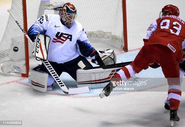 Ice hockey World Championship Denmark USA preliminary round Group A 5th matchday in the Steel Arena Goalkeeper Cory Schneider from the USA parries...