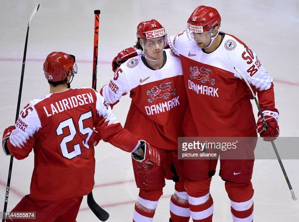Ice hockey World Championship Denmark USA preliminary round Group A 5th matchday in the Steel Arena Denmark's goal scorer to 14 Nick Olesen cheers...