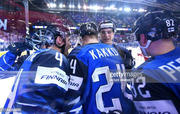 Ice hockey World Championship Finland Denmark preliminary round Group A 4th matchday in the Steel Arena Finland's players cheer over the goal to 11...
