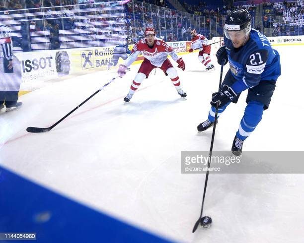 Ice hockey World Championship Finland Denmark preliminary round Group A 4th matchday in the Steel Arena Finland's Juhani Tyrvainen and Denmark's...