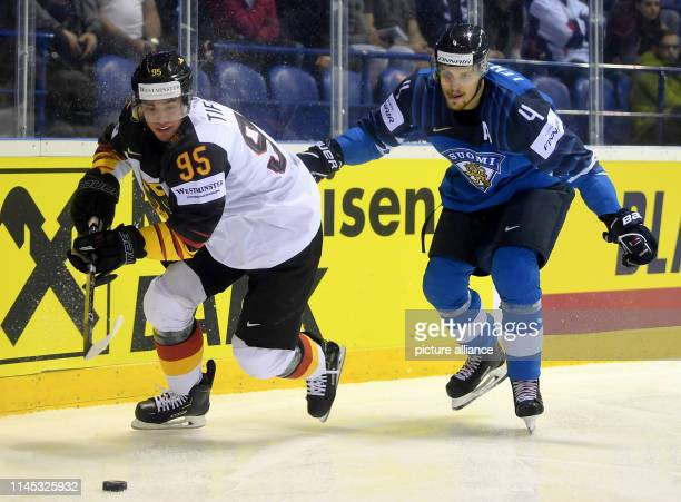 Ice hockey World Championship Finland Germany preliminary round Group A 7th matchday in the Steel Arena Finland's Mikko Lehtonen and Germany's...