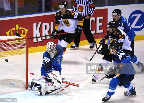 Ice hockey World Championship Finland Germany preliminary round Group A 7th matchday in the Steel Arena Germany's Leon Draisaitl shoots the puck into...