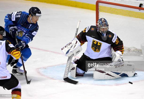 Ice hockey World Championship Finland Germany preliminary round Group A 7th matchday in the Steel Arena Germany goalkeeper Philipp Grubauer saves the...
