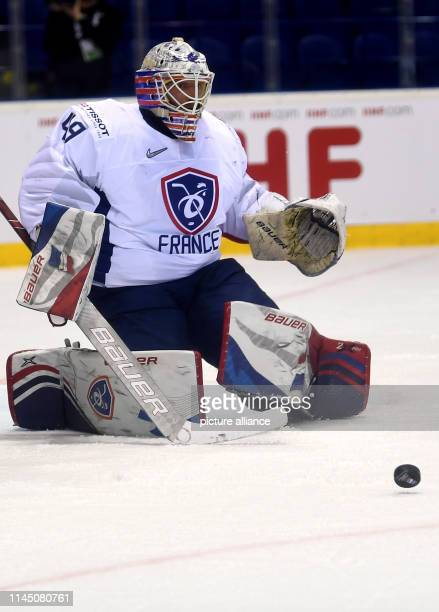 Ice hockey World Championship France Finland preliminary round Group A 6th matchday in the Steel Arena France's goalkeeper Florian Hardy in action...