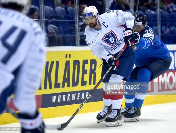 Ice hockey World Championship France Finland preliminary round Group A 6th matchday in the Steel Arena France's Damien Fleury and Finland's Niko...