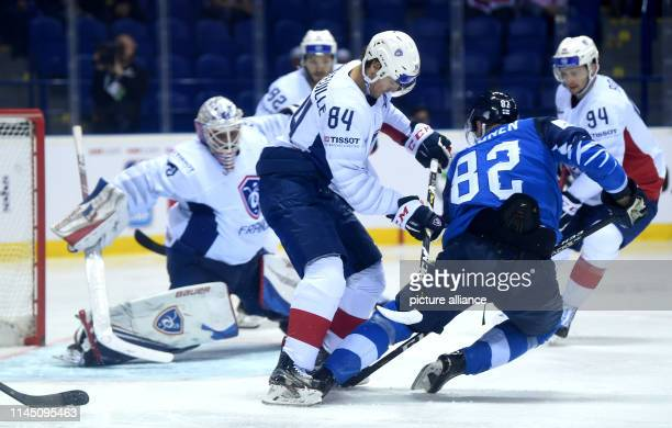 Ice hockey World Championship France Finland preliminary round Group A 6th matchday in the Steel Arena Finland's Harri Pesonen in action in front of...