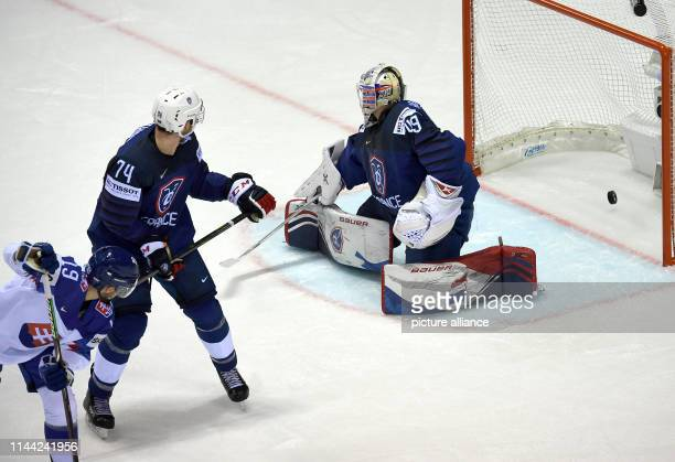 Ice hockey World Championship France Slovakia preliminary round Group A 5th matchday in the Steel Arena Slovakian Matus Sukel shoots the puck into...