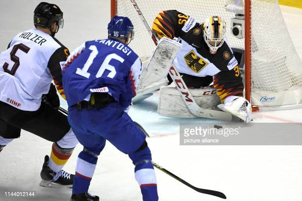 Ice hockey World Championship Germany Slovakia preliminary round Group A 4th matchday in the Steel Arena Germany goalkeeper Mathias Niederberger can...