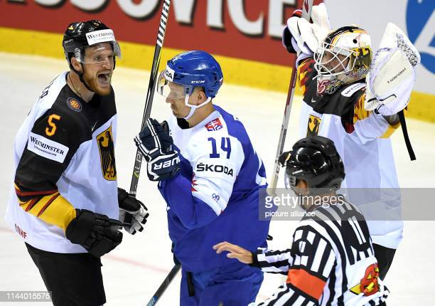 Ice hockey World Championship Germany Slovakia preliminary round Group A 4th matchday in the Steel Arena Germany's Korbinian Holzer and goalkeeper...