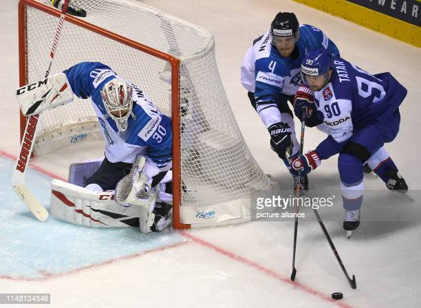 Ice hockey World Championship Slovakia Finland preliminary round Group A 2nd matchday in the Steel Arena Slovakia's Tomas Tatar and Finland's Mikko...