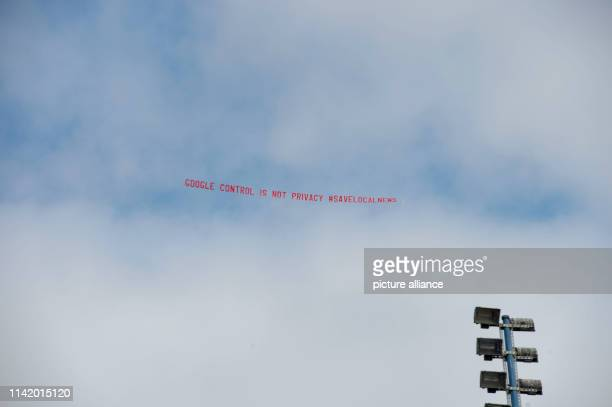 "May 2019, US, Mountain View: Google critics circle an airplane with a protest banner over the developer conference Google I/O. It says ""Google..."